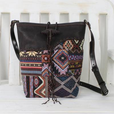 Leather accent cotton blend sling bag, 'Hill Tribe Journey' - Artisan Crafted Patchwork and Leather Sling Bag