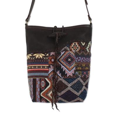 Novica Leather handbag, Midnight - Fair Trade Black Leather Sling Handbag