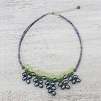 Peridot and cultured pearl pendant necklace, 'Sweet Sentiment' - Black Cultured Pearl and Quartz Necklace from Thailand