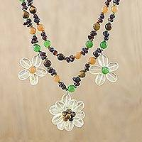 Multi-gemstone pendant necklace, 'Floral Day' - Citrine Multi-Gemstone Floral Necklace from Thailand