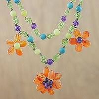 Multi-gemstone pendant necklace, 'Floral Morning' - Carnelian Multi-Gemstone Floral Necklace from Thailand