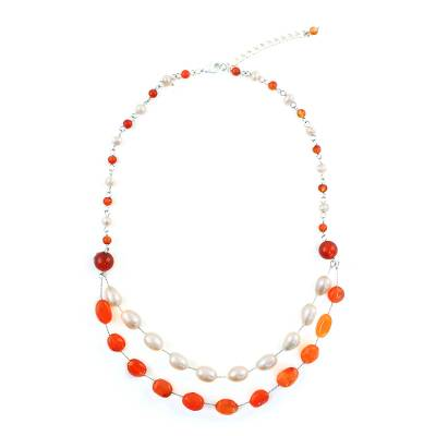 Cultured Pearl and Carnelian Station Necklace from Thailand