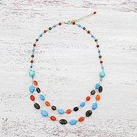 Multi-gemstone station necklace, 'Arctic Drops' - Multi-Gem Station Necklace with Carnelian from Thailand