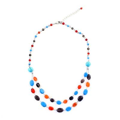 Multi-Gem Station Necklace with Carnelian from Thailand