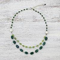Multi-gemstone station necklace, 'Verdant Drops' - Multi-Gemstone Station Necklace with Quartz from Thailand