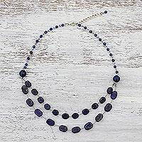Multi-gemstone station necklace, 'Mystical Drops' - Multi-Gem Station Necklace with Lapis Lazuli from Thailand
