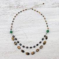 Multi-gemstone station necklace, 'Coffee Drops' - Multi-Gem Station Necklace with Tiger's Eye from Thailand