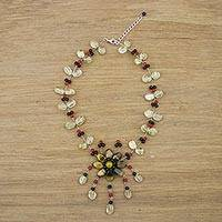 Citrine and tiger's eye pendant necklace, 'Floral Felicity' - Beaded Pendant Necklace with Tiger's Eye from Thailand