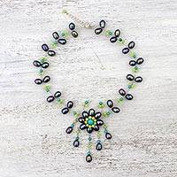 Multi-gemstone pendant necklace, 'Flying Flower in Black' - Beaded Necklace with Black Cultured Pearl from Thailand