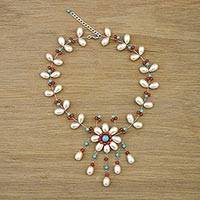 Cultured pearl and carnelian pendant necklace, 'Floral Felicity' - Beaded Pendant Necklace with Cultured Pearl from Thailand