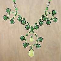 Quartz and serpentine pendant necklace, 'Symmetrical Bubbles in Green' - Quartz and Serpentine Beaded Pendant Necklace from Thailand