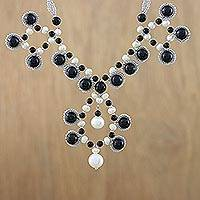 Cultured pearl and onyx pendant necklace, 'Symmetrical Bubbles' - Cultured Pearl and Onyx Beaded Necklace from Thailand