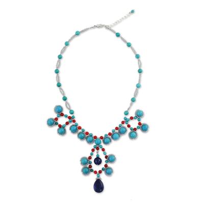 Lapis Lazuli and Quartz Beaded Necklace from Thailand