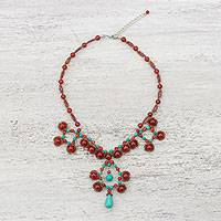 Carnelian pendant necklace, 'Symmetrical Bubbles in Red' - Carnelian and Calcite Beaded Pendant Necklace from Thailand