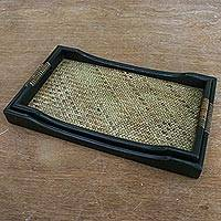 Wood nesting trays, 'Lanna Deluxe' (pair) - Rattan and Black Wood Trays (Pair)
