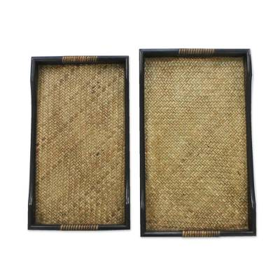 Rattan and Black Wood Trays (Pair)
