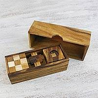 Wood puzzles, 'Three Puzzles' (set of 3) - Set of Three Handcrafted Wood Puzzles from Thailand