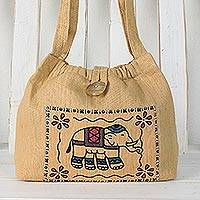 Cotton shoulder bag, 'Chic Elephant' - Cotton Shoulder Bag with Elephant Prints from Thailand