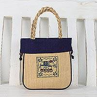 Cotton handle handbag, 'Elephant Mood' - Cotton Handle Handbag with Elephant Print from Thailand