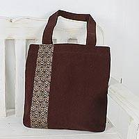 Cotton tote bag, 'Chiang Mai Blossom' - Tote Bag in Brown Cotton with Cream Embroidery