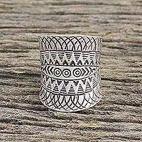 Sterling silver wrap ring, 'Exotic Accent' - Handcrafted Sterling Silver Wrap Ring from Thailand