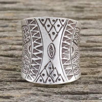 Sterling silver wrap ring, 'Exotic Thai' - Handcrafted Sterling Silver Wrap Ring from Thailand