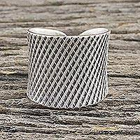 Sterling silver wrap ring, 'Modern Thai' - Handcrafted Sterling Silver Wrap Ring from Thailand