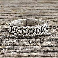 Sterling silver wrap ring, 'Thai Rope' - Handcrafted Thai Hill Tribe Sterling Silver Wrap Ring