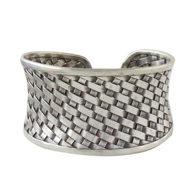 Sterling silver cuff bracelet, 'Basketwork' - Woven Texture Sterling Silver Cuff Bracelet for Women