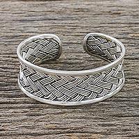 Sterling silver cuff bracelet, 'Classic Weave' - Handcrafted Sterling Silver Cuff Bracelet from Thailand