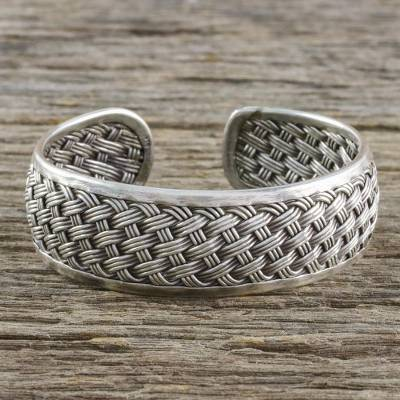 Sterling silver cuff bracelet, Tight Weave