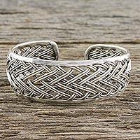 Sterling silver cuff bracelet, 'Silver Weave' - Handcrafted Sterling Silver Cuff Bracelet from Thailand