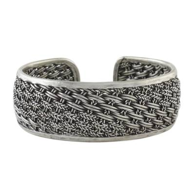 Sterling silver cuff bracelet, 'Exotic Weave' - Handcrafted Sterling Silver Cuff Bracelet from Thailand