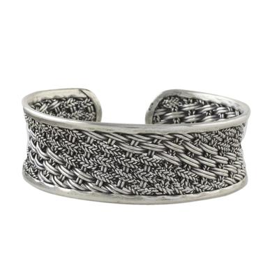 Sterling silver cuff bracelet, 'Tropical Weave' - Handcrafted Sterling Silver Cuff Bracelet from Thailand