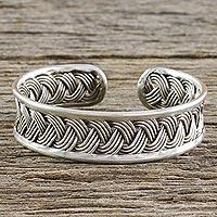 Sterling silver cuff bracelet, 'Silver Braid' - Handcrafted Sterling Silver Cuff Bracelet from Thailand