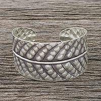Sterling silver cuff bracelet, 'Jungle Style' - Handcrafted Sterling Silver Leaf Cuff Bracelet from Thailand