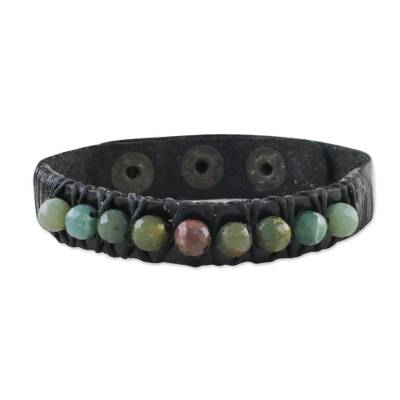 Agate and leather wristband bracelet, 'Rock Walk' - Bohemian Leather and Agate Bead Wristband Bracelet