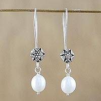 Cultured pearl dangle earrings, 'Emerging Buds' - White Cultured Pearl Flower Dangle Earrings