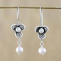 Cultured pearl dangle earrings, 'Three-Petaled Blossom in Pink' - Pale Pink Cultured Pearl and 950 Silver Dangle Earrings