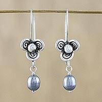 Cultured pearl dangle earrings, 'Three-Petaled Blossom in Grey' - Blue-Grey Cultured Pearl and 950 Silver Hill Tribe Earrings