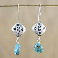 Silver dangle earrings, 'Hill Tribe Cool' - Stamped Hill Tribe 950 Silver Dangle Earrings
