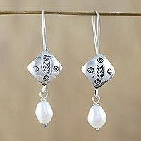 Cultured pearl dangle earrings, 'Hill Tribe Cool' - Cultured Pearl Hill Tribe Silver Dangle Earrings