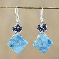 Quartz dangle earrings, 'Back to Square One' - Sterling Silver and Blue Quartz Beaded Earrings