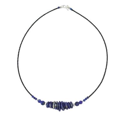 Lapis lazuli beaded necklace, 'Singing the Blues' - Lapis Lazuli and 950 Silver Beaded Pendant Necklace