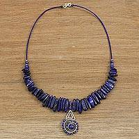 Lapis lazuli beaded pendant necklace, 'Enchanting Night' - Statement Necklace with Sterling and Lapis Lazuli