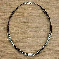 Beaded tiger's eye necklace, 'Silver Mint' - Elegant Beaded Tiger's Eye and 950 Silver Necklace