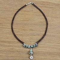 Featured review for Beaded silver Y necklace, Hill Tribe Wheel