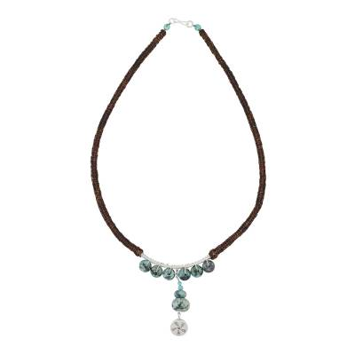 Beaded silver Y necklace, 'Hill Tribe Wheel' - Brown Macrame Necklace with Beads and 950 Silver