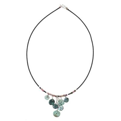 Rhodonite beaded waterfall necklace, 'Button Drop' - Rhodonite and Reconstituted Turquoise Bead Necklace