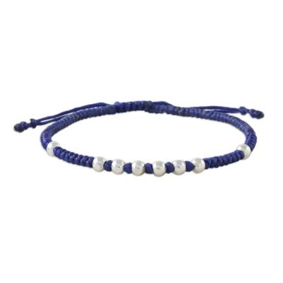 Silver beaded cord bracelet, 'Hill Tribe Ultramarine' - Ultramarine Cord Bracelet with 950 Silver Beads